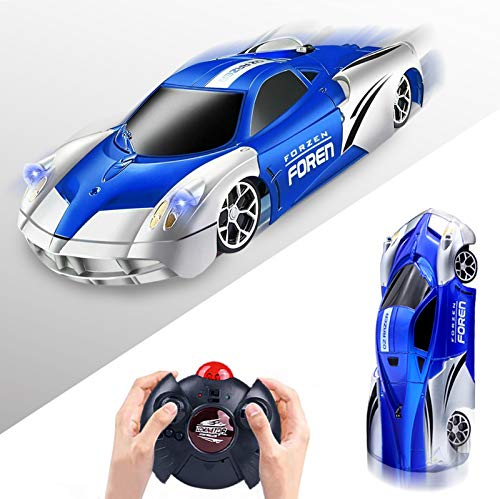 Wall Climbing Remote Control Car RC Cars Race Car Kids Toddler Toys for 3 4 5 6 7 8 Year Old Boys Girls with Led Lights Rotating Stunt Racing Gift (Blue)