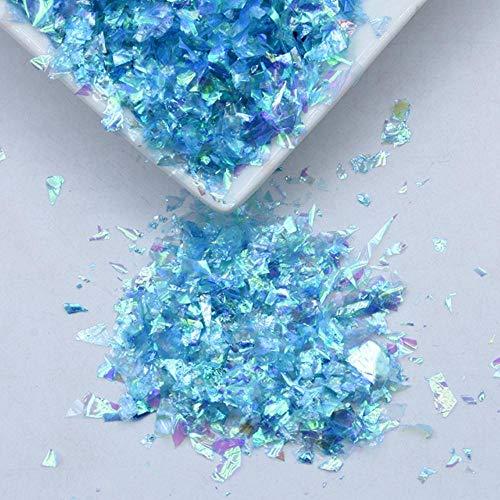 20g / paquet irrégulier Shell papier paillettes bricolage Nail Flakies coloré paillettes Nail Art paillettes pour 3D Nail Art décoration, AB lac bleu, 20g
