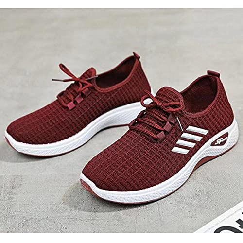 Aerlan Straßenlaufschuhe,Zapatos Casuales de Mujer Zapatos de Senderismo Transpirables-Vino Tinto_39,Calzado Deportivo para Hombre y Mujer