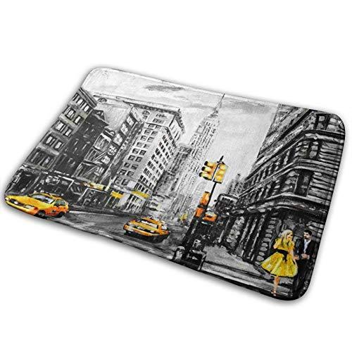 Tapis De Bain Absorbant Antidérapant Tapis De Douche Doux Tapis De Sol Salle De Bain Moelleux pour Sortie De Baignoire Toilette Cuisine Taxi de New York Street View