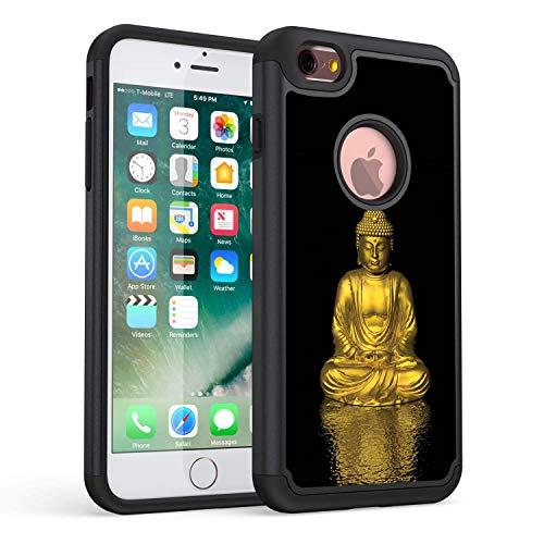 Funda para iPhone 6 Plus, Funda para iPhone 6S Plus, Funda de protección de Doble Capa híbrida de plástico TPU Resistente Rossy para iPhone 6 Plus/6S Plus 5.5', Buda Dorado