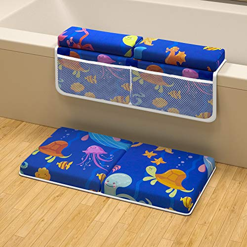 Baby Bath Kneeler and Elbow Rest Pad Set - Premium Tub Kneeler Pad + Arm Rest Combo - Baby Bath Cushion and Bathroom Knee Saver Mat, Bath Seat and Dam Accessories for Bath Kneeling and Bathing Babies