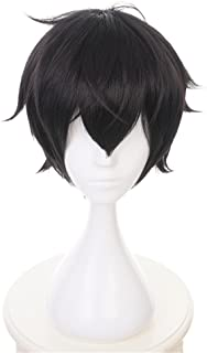 Xingwang Queen Anime Short Black Layered Cosplay Wig Party Wigs for Men Boys