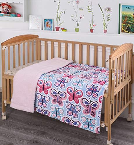 Elegant Home Kids Soft & Warm Pink Blue Purple Butterflies Design Sherpa Baby Toddler Girl Blanket Printed Borrego Stroller or Baby Crib or Toddler Bed Blanket Plush Throw 40X50 (Butterfly Blue)