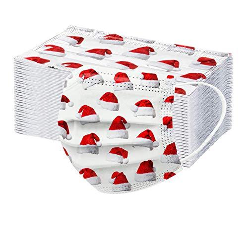 RUITOTP 50/100pc Weihnachten Unisex Erwachsenen Schutz Frauen Männer Einweg Universal süße Weihnachten gedruckt atmungsaktive Ohr Schleife weiche Gesicht Schal Bandanas