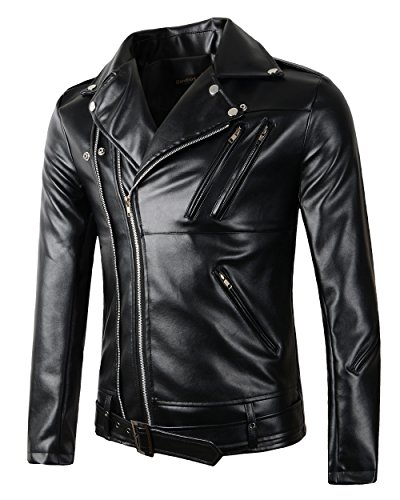 New Mens Causal Belted Design Slim Pu Leather Biker Zipper Jacket Coat (Large), Black