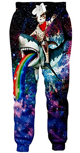 Loveternal Sweatpants für Herren Cowboy Cat Hipster Coole Jogger Lustige Hosen Lässige Workout Jogginghose für Teen M