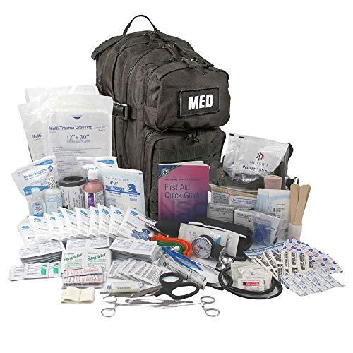 Luminary Tactical Trauma Kit Fully Stocked First Aid Kit Backpack EMS/EMT First Responder Medical Bug Out Bag for Preppers Professionals and Outdoorsman (Black)