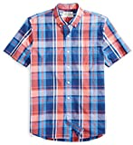 Amazon Brand - Goodthreads Men's Standard-Fit Short-Sleeve Large-Scale Plaid Shirt, Red/Blue, XX-Large