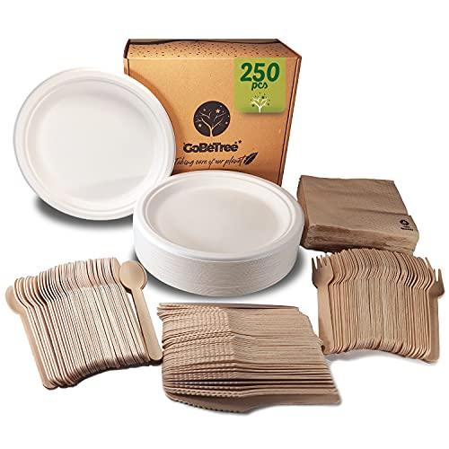Stoviglie usa e getta da 250 pezzi per 50 persone - Servizio da tavola ecologico in canna da zucchero - 50 piatti 150 posate in legno e 50 tovaglioli.