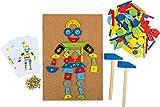 Small Foot- Jeu liège, Accessoires Inclus (2 marteaux, 100 Clous et 126 pièces en Bois colorés), Un Amusement créatif à partir de 6 Ans, 3944, Multicolore