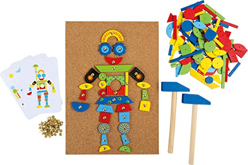 Hämmerchen Spiel aus Kork und Holz, inkl. Zubehör (2 Hammer, 100 Nägel und 126 bunte Holzteile), für kreativen Spaß ab 6