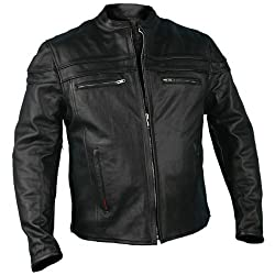 Hot Leathers JKM1011,BLK,L Men's Heavyweight Black Leather Jacket with Double Piping