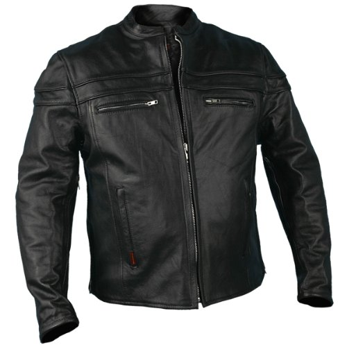 Hot Leathers JKM1011,BLK,L Men's Heavyweight Black Leather Jacket with Double Piping (Black, Large)