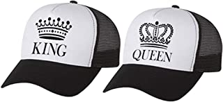 KING & QUEEN Matching Couple Hats Set Valentine's Day Gift His & Hers Mesh Caps