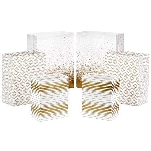Hallmark Gold Gift Bag Assortment - Diamonds, Stripes, Dots (Pack of 6: 2 Medium 9', 2 Large 11', 2 Extra Large 14') for Chrsitmas, Hanukkah, Graduations, Birthdays, Weddings, Bridal Showers