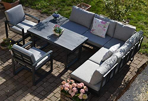 bomey Ecklounge Santorini mit HPL Terrassentisch + 2 Lounge Sessel (hell/mittelgrau) I Gartenmöbel-Set bestehend aus Gartensofa, höhenverstellbarer Alu-Tisch + 2 Lounge-Stühle I Moderne Gartengarnitur