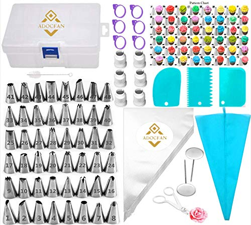 Cake Decorating Kit Tools 121Pc,Supplies Piping Bags And 48 Numbered Tips,50 Icing Bags,Baking Frosting Bags And Tips And Accessories For Beginners,Cookie Cupcake Decorating (120PC)