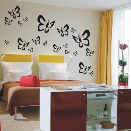 INDIGOS UG - WANDTATTOO/Wandsticker/Wandaufkleber/Aufkleber - W521 Schmetterlinge Butterfly Wandaufkleber/Aufkleber 20 Stück, schwarz