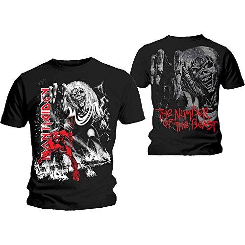 Iron Maiden T Shirt number of the beast Jumbo Nue offiziell Herren Schwarz