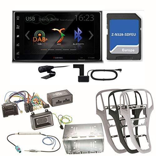 Zenec Z-N328 Bluetooth USB MP3 Naviceiver Navigation DAB+ Digitalradio Autoradio Einbauset für Opel Astra J, Farbe der Radioblende:Titan-Grau