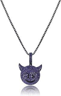 MoCa Jewelry - Collana unisex con ciondolo a forma di diavoletto con brillantini, con catena in acciaio inossidabile da 61...