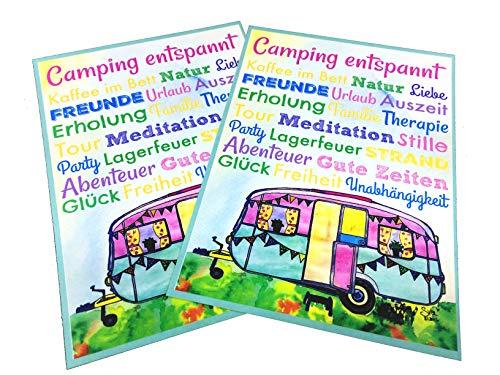 AnneSvea Camping entspannt! Postkarte 2 Stück A6 Deko Wohnwagen Postcard Urlaubsgrüße Camper Bus