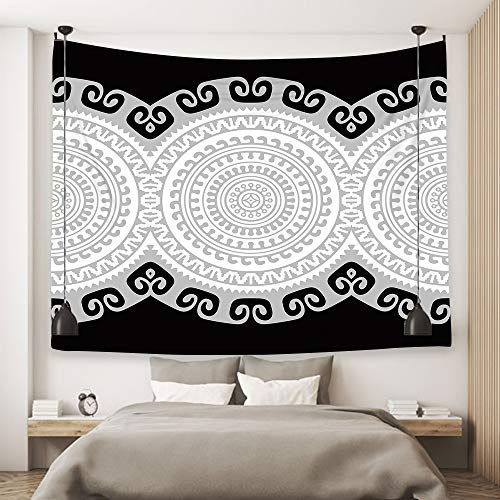 Orange Design Black Gray White Bless International Indian-Hippie-Gypsy Bohemian-Psychedelic Cotton-Mandala Wall-Hanging-Tapestry-Multi-Color Large-Mandala Hippie-Tapestry 59''x78.7''