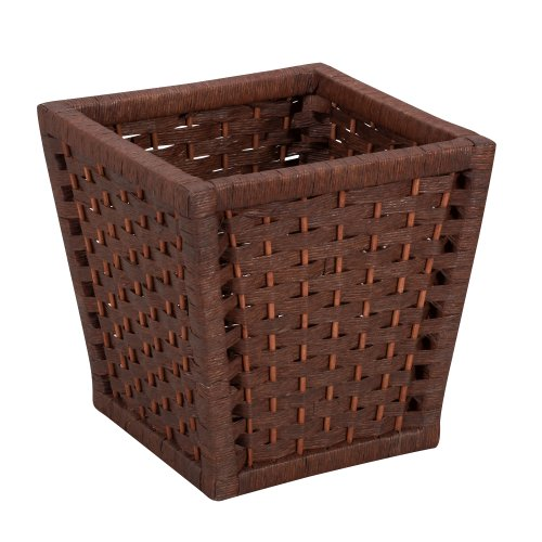 Household Essentials ML-7031 Paper Rope Wicker Waste Basket | For Bedrooms & Bathrooms | Dark Brown Stain