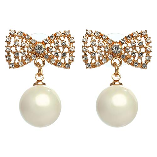 Designer Imitation Pearl Camellia Charm Dangle Earrings For Women