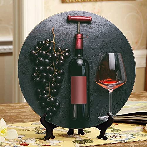 ALALAL Bottle Today's only Wine and Grape Plate On Super sale Decorative Decorated Table