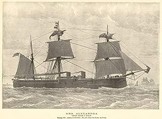 HMS Alexandra. Captain Charles F. Hotham. Royal Navy. Ships - 1882 - Old Antique Vintage Print - Art Picture Prints of Royal Navy