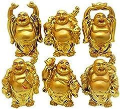 WORBAX Feng Shui Laughing Buddha | Lucky Golden Set of Happy Buddha Set of 6 Different Buddha Statues | Maitreya Buddha fo...