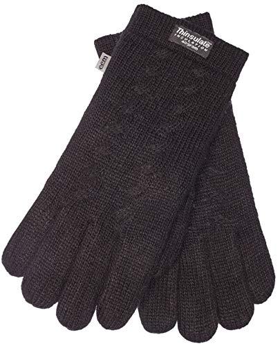EEM Damen Strick Handschuhe FREYA mit Thinsulate Thermofutter aus Polyester und Zopfmuster, Strickmaterial aus 100% Wolle; schwarz, S