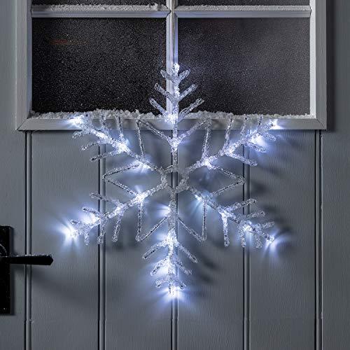 Lights4fun - Sagoma Luminosa a Fiocco di Neve in Metallo Bianco e Resina Acrilica con LED Bianco a Pile per Interni ed Esterni