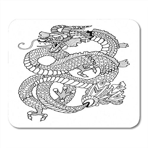 Mouse Pad Dragon Coloring Book per Adulti Anti Stress Tattoo Stencil Zentangle Bianco e Nero Righe Motivo Pizzo Tappetino Mouse Mat 9.5