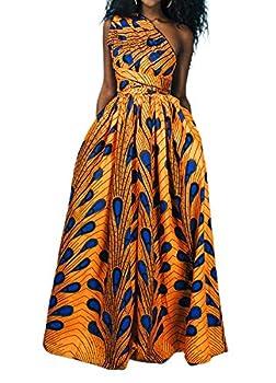 Giovacker Women s Africa DIY Band Floral Print Backless Sleeveless Split Dress Lace High Waist Adjustable Straps Bohemia Dress  Long Style Yellow