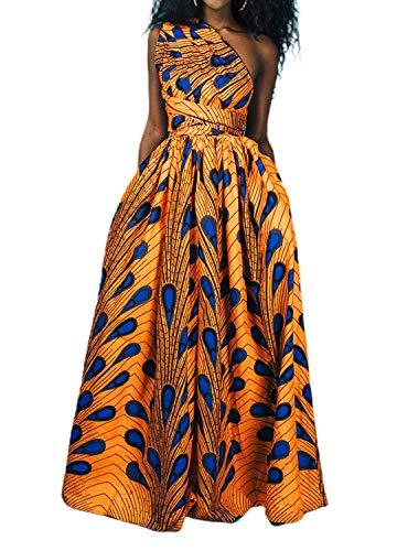 Giovacker Women's Africa DIY Band Floral Print Backless Sleeveless Split Dress Lace High Waist Adjustable Straps Bohemia Dress (Long Style Yellow)