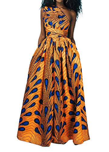 Giovacker Women's Africa DIY Band Floral Print Backless Sleeveless Split Dress Lace High Waist Adjustable Straps Bohemia Dress (Long Style Yellow)