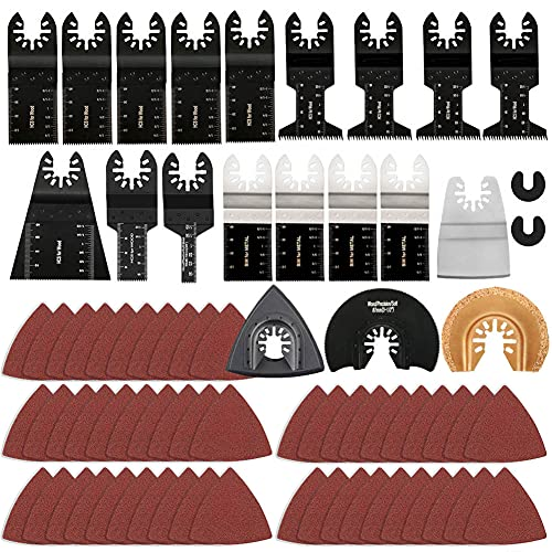 72 Pcs Oscillating Tool Blades Assorted Universal Multitool Blade Quick Release Oscillating Saw Blades Accessories Kit to Cut Metal Wood Plastic