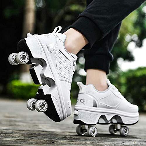 qmj Rollschuhe Für Frauen Schuhe Mit Rollen Mädchen 2 In1 Multifunktionale Verformungsschuhe Outdoor Mode Sportschuhe,White-EU41