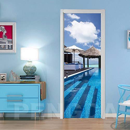 Deurstickers, zelfklevend, motief zee, landschap, aftrekbaar, decoratie voor huis, woonkamer, PVC, waterdicht, 3D-printer, zelfklevend