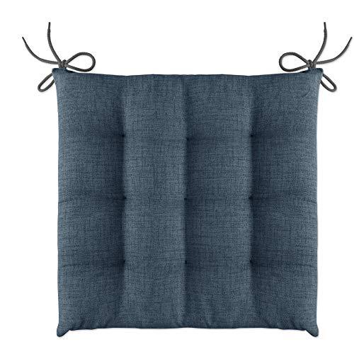 LILENO HOME 4er Set Stuhlkissen Dunkelblau (40x40x4,5 cm) - Sitzkissen für Gartenstuhl, Küche oder Esszimmerstuhl - Bequeme UV-beständige Indoor u. Outdoor Stuhlauflage als Stuhl Kissen