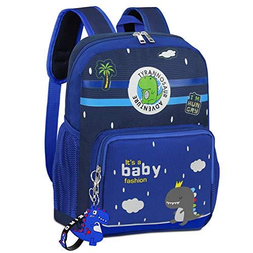 Mochilas para niños, Mochila para niños de Gran Capacidad para bebés de 3 a 6 años, niños, niñas, Mochila de Dinosaurios para Preescolar de jardín de Infantes Pequeña Primaria,Azul