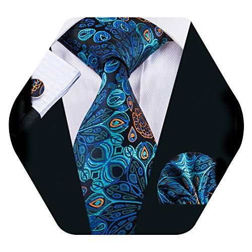 YOHOWA Blue Silk Tie Pocket Square Cufflinks Set Mens Paisley Tie Set