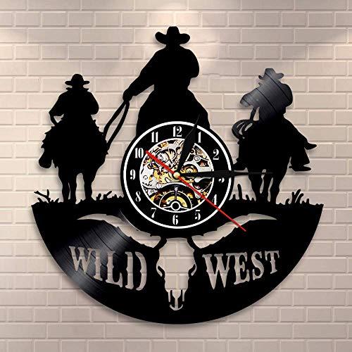 YUN Clock Texas Western Cowboy Wanduhr aus Vinyl Schallplattenuhr Upcycling Familien Dekoration 3D Design-Uhr Wohnzimmer Schlafzimmer Restaurant Wand-Deko Kunst Geschenk Ø: 30 cm