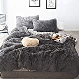 MorroMorn 5 PCS Shaggy Duvet Cover Bedding Set - Long Faux Fur Luxury Ultra Soft Cozy (Gray, King/California King)