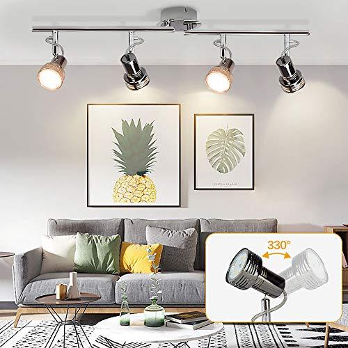 LED Deckenlampe Schwenkbar Modern, 4 Flammig LED Deckenstrahler Drehbar, 4 x 3W GU10 LED Leuchtmittel, 960LM 3000K Warmweiß, Deckenleuchte LED Deckenspot für Wohnzimmer Küche, Schlafzimmer, Büro
