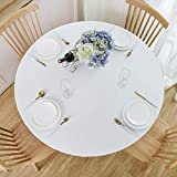 NLMUVW Round Fitted Vinyl Tablecloth with Elastic Edge 100% Waterproof Oil Proof PVC Table Cloth Wipe Clean Table Cover for Indoor and Outdoor, White, 40
