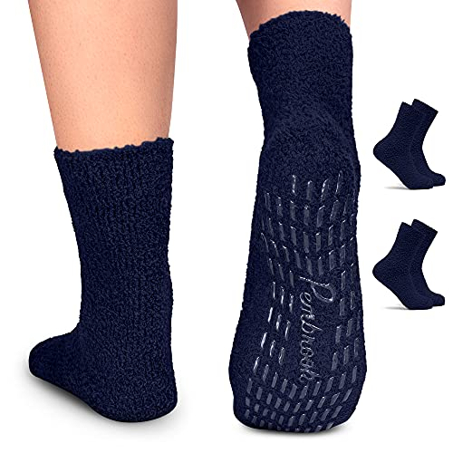 Pembrook Non Skid / Slip Socks – (2-Pack – Navy) – Hospital - Fuzzy Slipper Socks – Great for adults, men, women. Designed for medical hospital patients but great for everyone